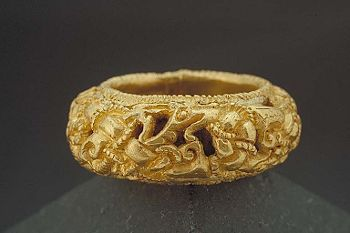 Gold ring.  Viking period.  Found in Skåne.  In the Historiska Museet, Stockholm.