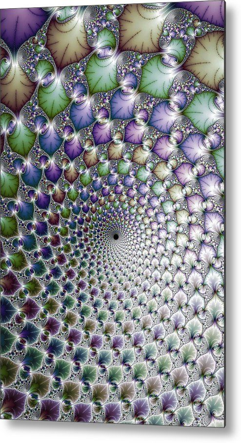 Spiral Op Art Metal Print for sale. Modern abstract art (vortex / maelstrom / spiral) based on a fractal, mesmerizing colorful floral spiral with beautiful metallic colors. The image gets printed directly onto a sheet of aluminum. Metal prints are extremely durable and lightweight. The high gloss of the aluminum complements the rich colors of the image. Matthias Hauser - Art for your Home Decor and Interior Design.