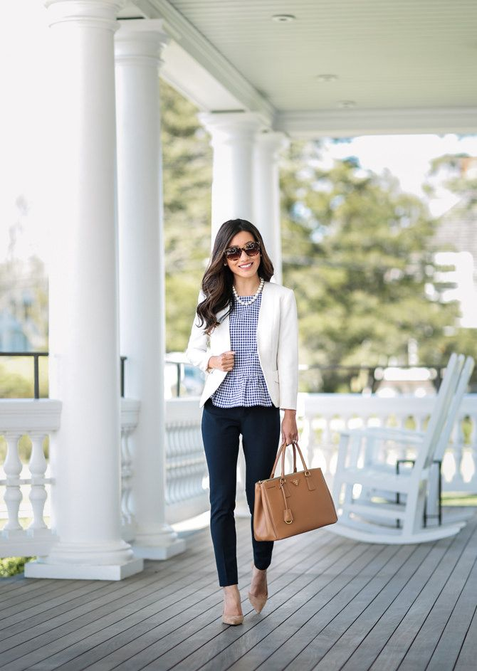 Navy ankle pants + white blazer + peplum top // classic, professional work outfit ideas by Extra Petite fashion blog