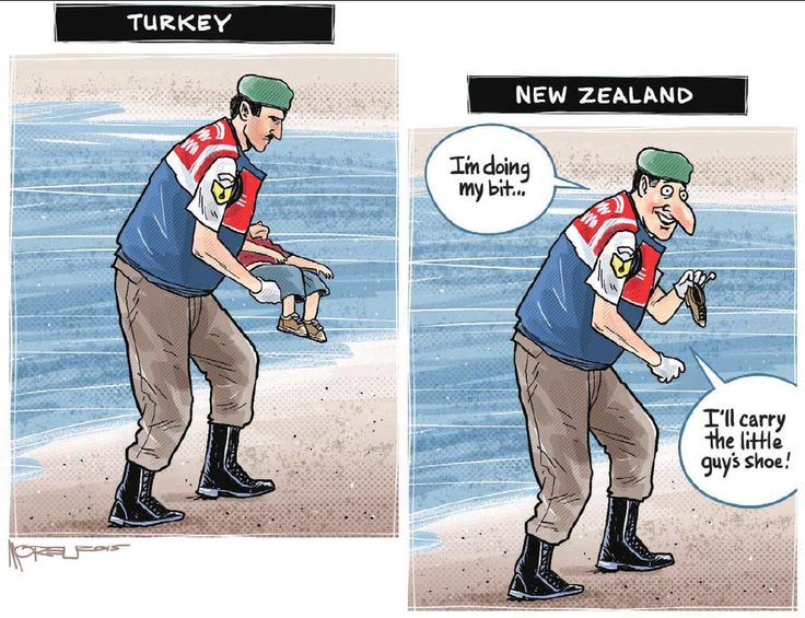 """The tragedy of NZ's unwillingness to """"do its bit"""" - Moreu's #Aylan refugee cartoon in the Timaru Herald."""