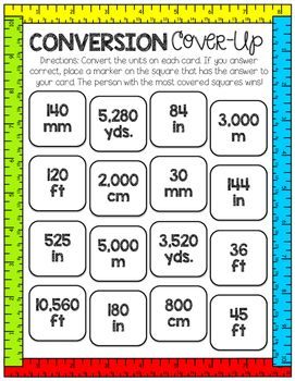 This game is a great tool to help your students practice converting customary and metric units of length. Use as a center, practice activity, or as a review activity. I hope your kiddos have as much fun with it as mine do! Enjoy!