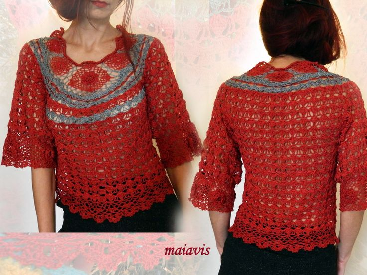 women fashion crochet blouse romantic
