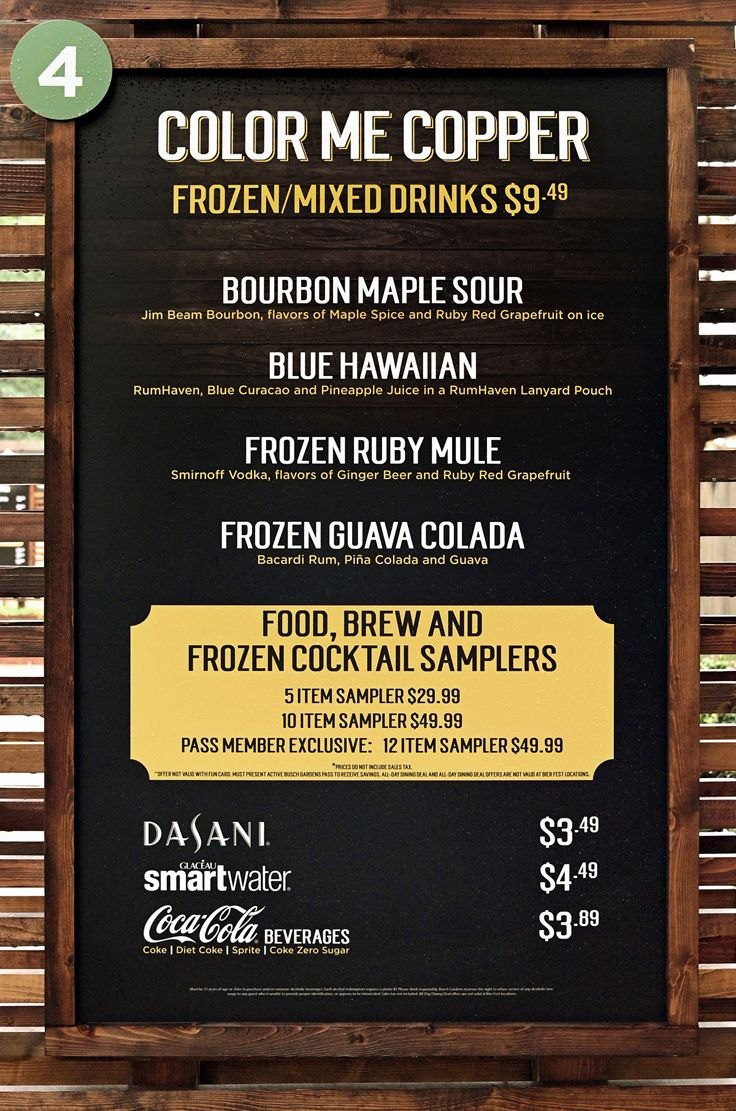Color Me Copper menu and price board for Bier Fest 2019 at