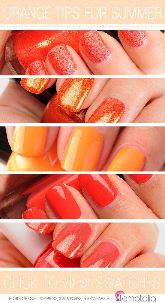5 Orange Nail Polishes to Try for Summer - 1.Illamasqua Marquise — a textured, gold-shimmered orange  2.Zoya Amy — a fiery orange  3.Zoya Arizona — a yellow-orange cream   4.Guerlain Nahema — medium-dark, orange-red  5.Essie Sunday Funday — a muted, orange-coral