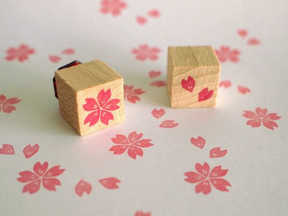Cute stamp set for DIY invites or save the dates.  cherry blossom   set of 2 mini stamps  15x15mm  by by SiebenMorgen, €6.00