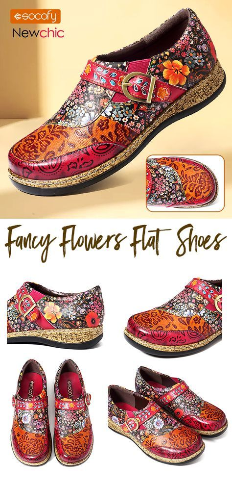 c5424216f86  48% off SOCOFY Retro Buckle Fancy Flowers Splicing Genuine Leather  Stitching Slip On Comfortable Flat Shoes. fashion  womenshoes  flatshoes
