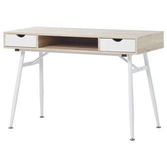 Bureau Daan, whitewash eikenkleur met wit metalen onderstel. Afm. (bxdxh): 120x48x76 cm | Bureaus | Bureaus & bureaustoelen | Meubelen | KARWEI