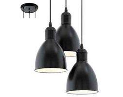Lampa wisząca zwis Eglo Priddy 3x60W E27 czarna 49465 - wysyłka w 24h