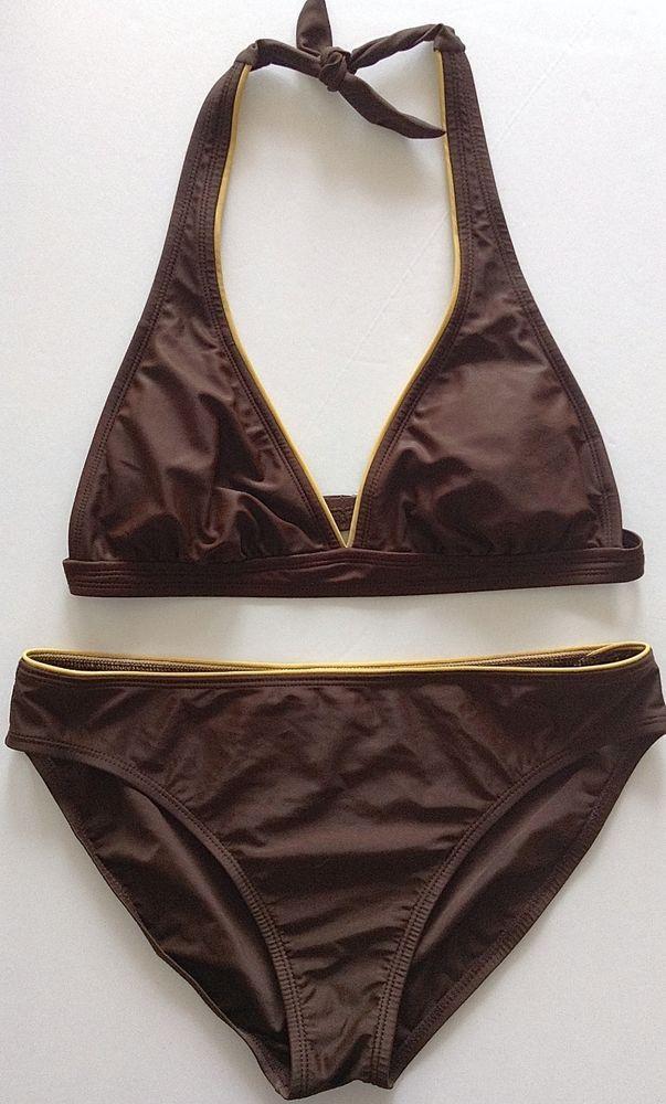 Isaac Mizrahi For Target Bikini 2 Piece Swimsuit Brown Gold Size Large Lined…