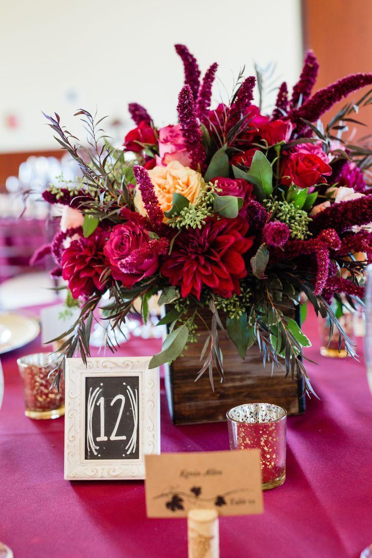 Rustic Table Centerpiece In Burgundy Magenta And Peach Burgundy Wedding Centerpieces Flower Centerpieces Wedding Magenta Wedding Centerpieces