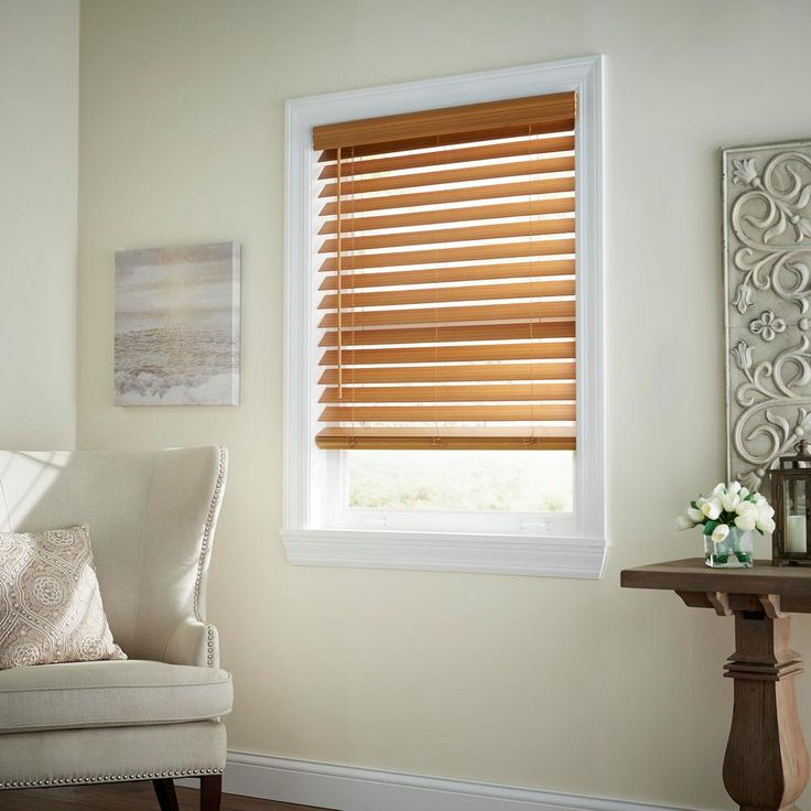 Home Decorators Collection Chestnut Cordless Room Darkening 2 5 In Premium Faux Wood Blind For Window 27 In W X 64 In L 10793478395293 The Home Depot Faux Wood Blinds Wood Blinds Home Decorators Collection