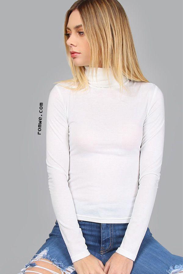 a78baa5b051 White Turtleneck Long Sleeve Slim Fit T-shirt