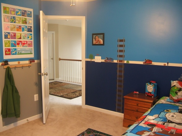 Thomas The Train Room. Love How The Top Half Of Walls Are One Color And