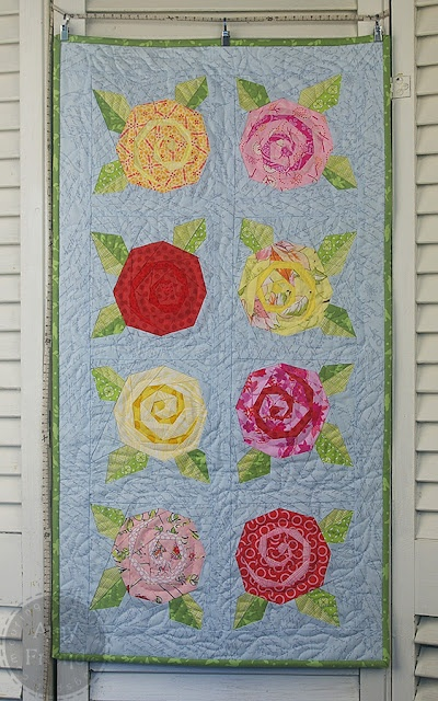 During Quiet Time Rose Garden Table Runner Paper Pieced