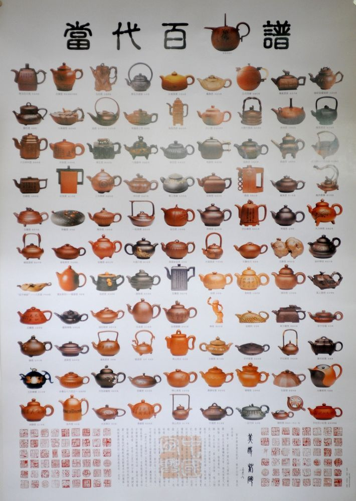 Large Poster 100 yixing purple clay teapot famous contemporary artists 2' x 3'