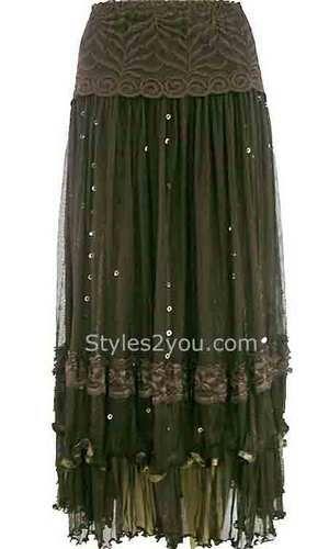 Pretty Angel Clothing Vintage Skirt with Sequins in Black Brown or Ecru 26787   eBay