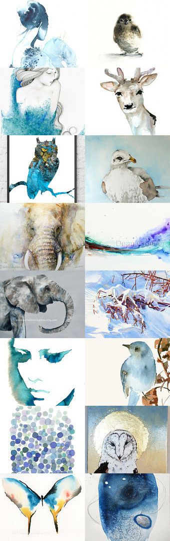 Blue Watercolor mix by Csilla Molnar on Etsy--Pinned with TreasuryPin.com