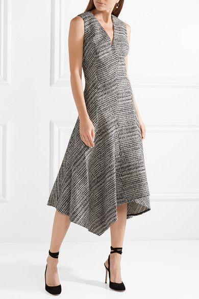 Jason Wu - Asymmetric Prince Of Wales Checked Wool Midi Dress - Gray