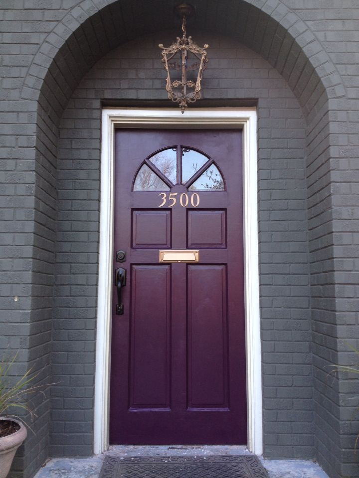 It S Amazing What A Small Amount Of Paint Can To Do To Change One S Mind About Their Front Door Rar Purple Front Doors Painted Front Doors Exterior Door Colors