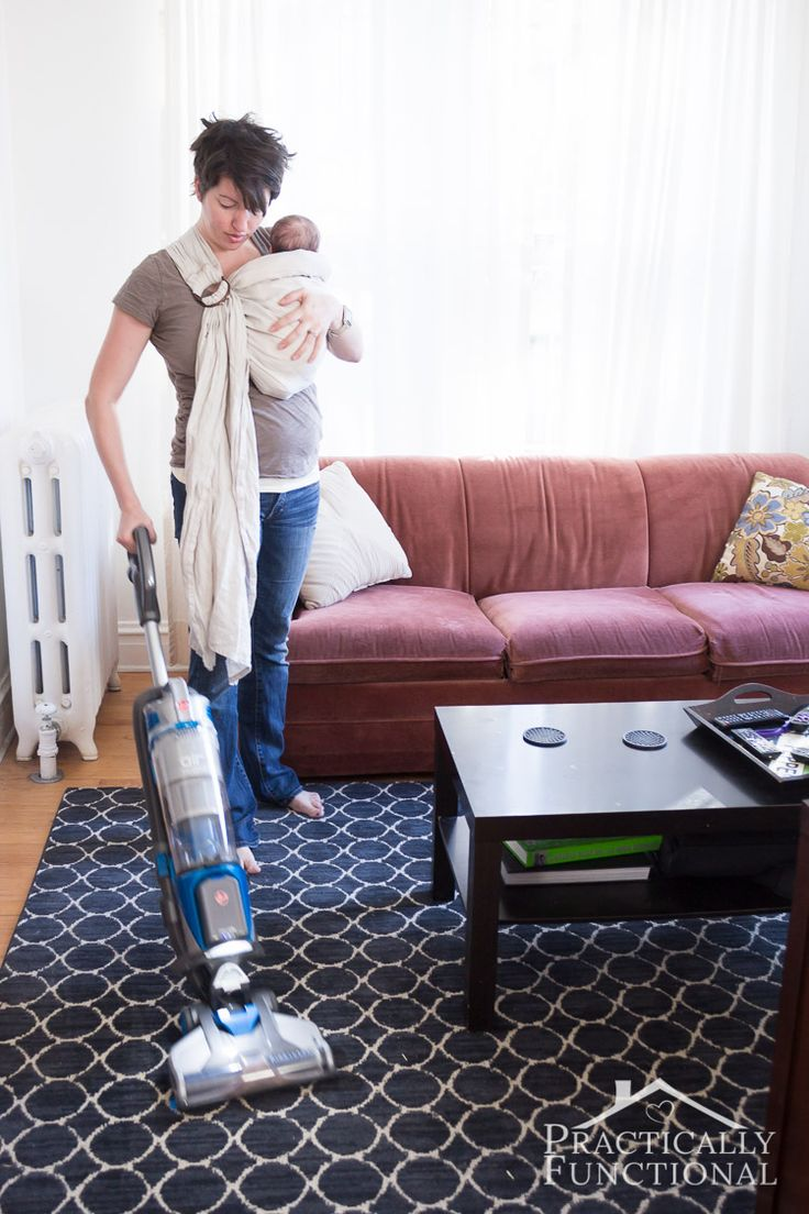 Vacuums are great white noise machines to help calm your crying baby! Plus your house will be so clean!
