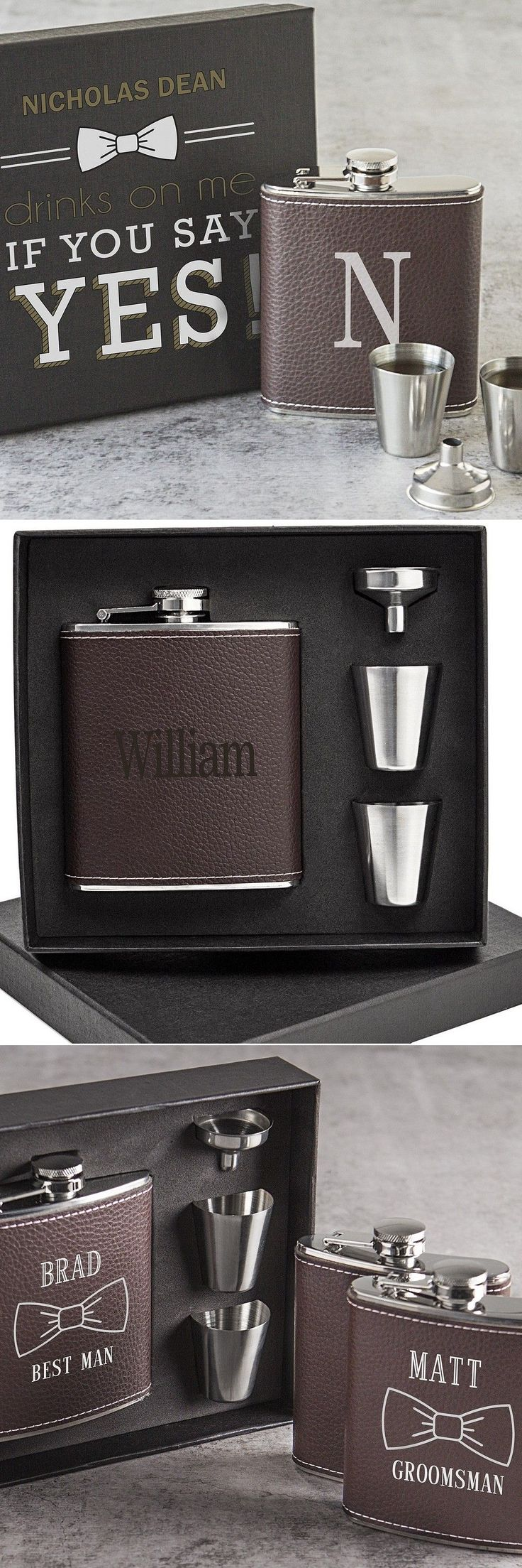 Groomsmen Gifts Idea - Hip flasks personalized with your best man and groomsmen's names or initial is a timeless functional gift they guys in your wedding party will actually use. #groomsmengifts