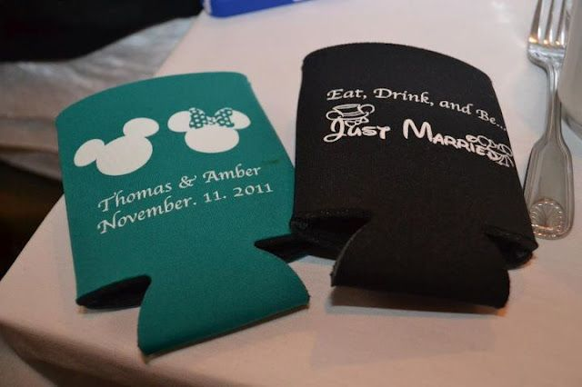 At Home Disney Wedding - Eat, Drink, and Be Just Married Koozies {Crystal Lee Photography}