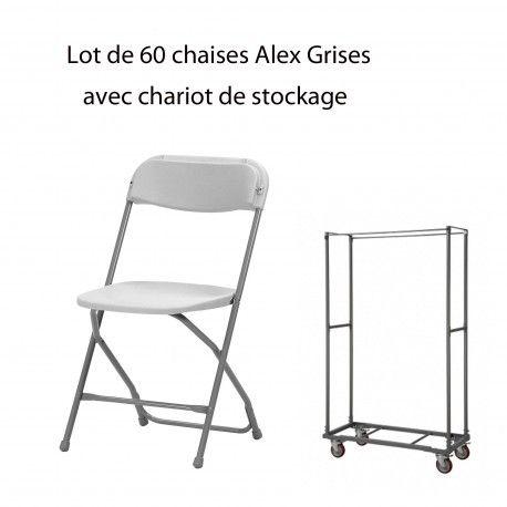 Ensemble de 60 chaises Alex avec le chariot de transport.  Robuste et légère pour un usage intensif et possible en extérieur