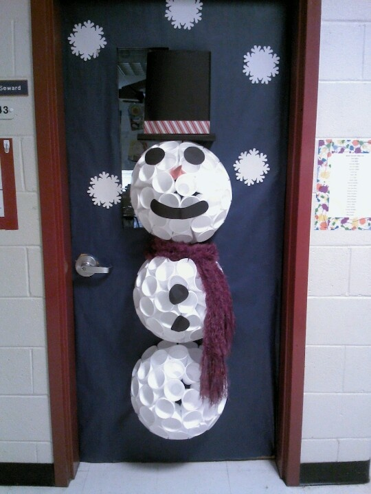 71 best images about decorate door for christmas on for Snowman made out of cups