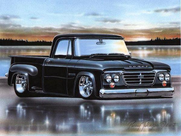 black 1962 63 64 65 dodge d100 stepside pickup truck. Black Bedroom Furniture Sets. Home Design Ideas