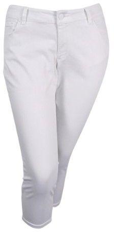 Jessica Simpson Women's Plus Size White Wash Cropped Skinny Jeans (24W, White)