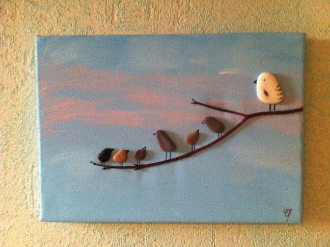 Tableau peinture galets oiseaux galets pinterest for Peindre du bois flotte