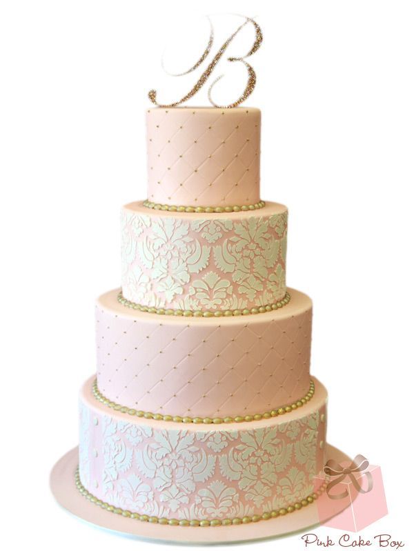 Pink Ombre Damask Wedding Cake by Pink Cake Box in Denville, NJ.  More photos at http://blog.pinkcakebox.com/pink-damask-wedding-cake-2011-08-17.htm  #cakes