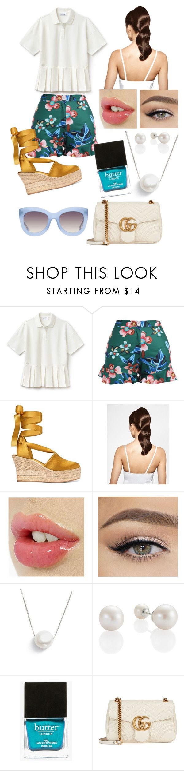 """""""Emeraude"""" by judehassan on Polyvore featuring Lacoste, Tory Burch, Hershesons, Chan Luu, Butter London, Gucci and Alice + Olivia"""