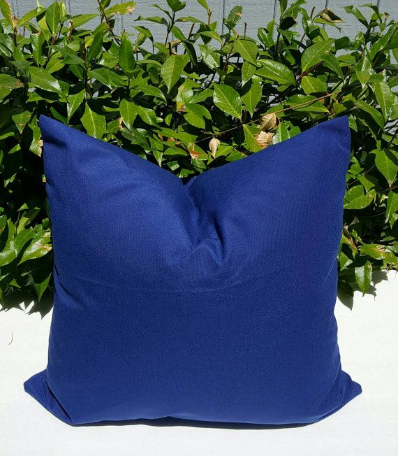 Richloom Solarium Outdoor Solid Admiral Navy Blue Decorative Throw Pillow  Cover With Hidden Zipper