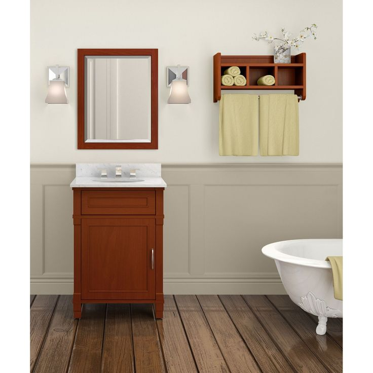 Alaterre Williamsburg Marble Sink Chestnut 24-in Bathroom Vanity with Storage Shelf and Mirror Set (Chestnut with
