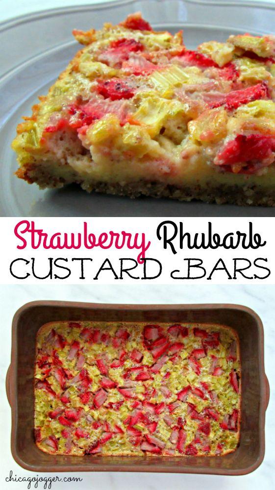 Strawberry Rhubarb Custard Bars - the best dessert recipe for spring | Chicago Jogger #dessert #rhubarb