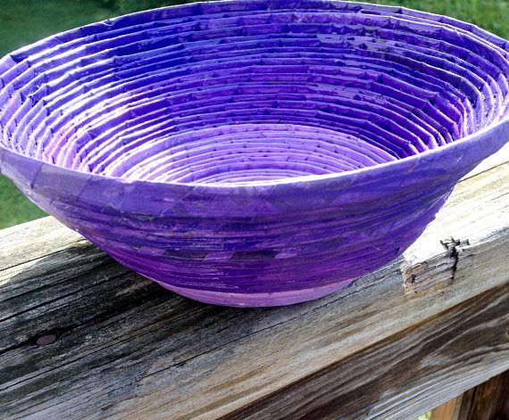 Purple Ombré Bowl,Recycled Newspaper Bowl,Homemade Bowl,Purple Bowl,Ombré,1st Anniversary,Upcycled,Recycled,Home Decor,Bathroom Decor,Office