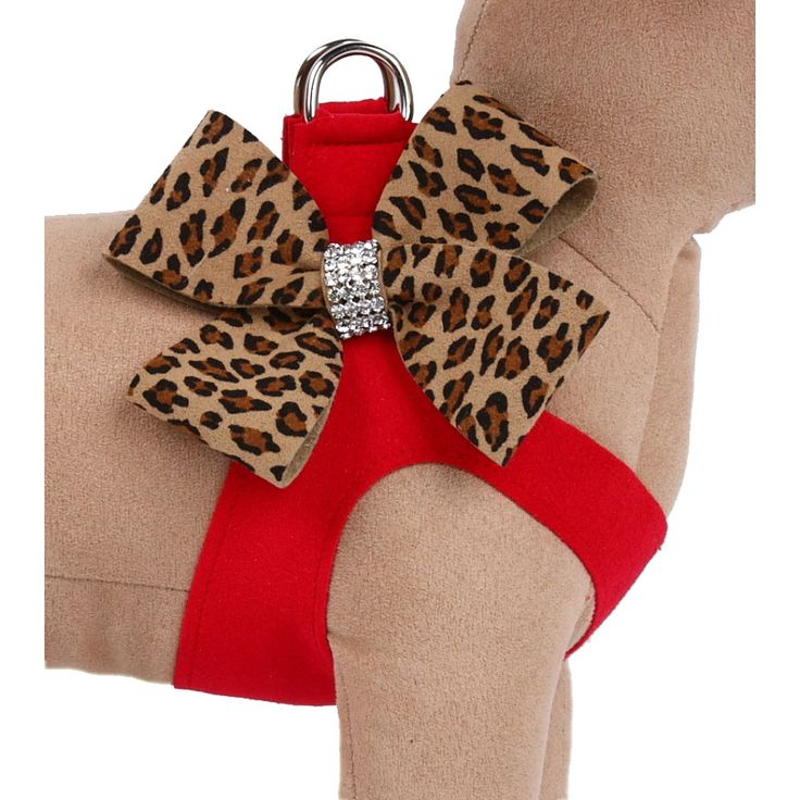 Susan Lanci Two-Tone Nouveau Bow Step-In Dog Harness- Red Cheetah at GlamourMutt.com - loving this site!