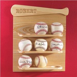 Baseball Display Shelf   Lillian Vernon - Boys Rooms...Jenn! Check this out! Too cute for Robby!