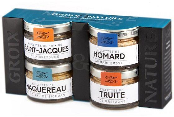 Coffret Mini Rillettes,  >>> Le temps d'un apéritif, découvrez ces 4 recettes inédites et savourez la richesse du Homard bleu, la finesse de la St Jacques Bretonne, la saveur de la Truite de Bretagne et le Maquereau cuisiné au poivre de Sichuan. Groix & Nature