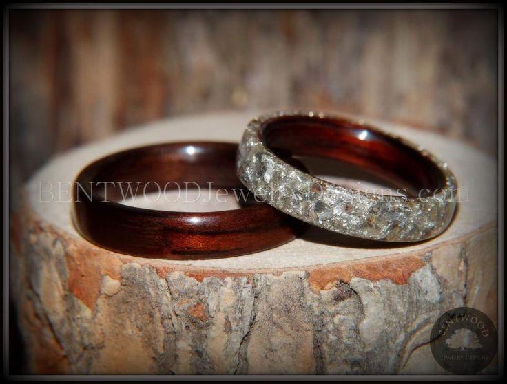 Bentwood Rings Set - Kingwood  Classic and Kingwood Full Glass Inlay - Bentwood Jewelry Designs - Custom Handcrafted Bentwood Wood Rings  - 5