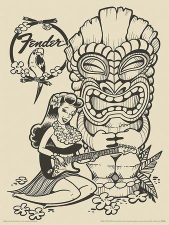 Affiches vintage affiches sur AllPosters.fr Fender Tiki