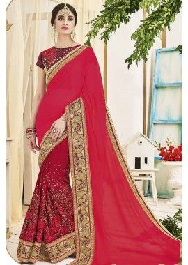 marron, couleur rose georgette saree, - 186,00 €, #Robebollywood #Saripascher #Tenuepakistanaise #Shopkund