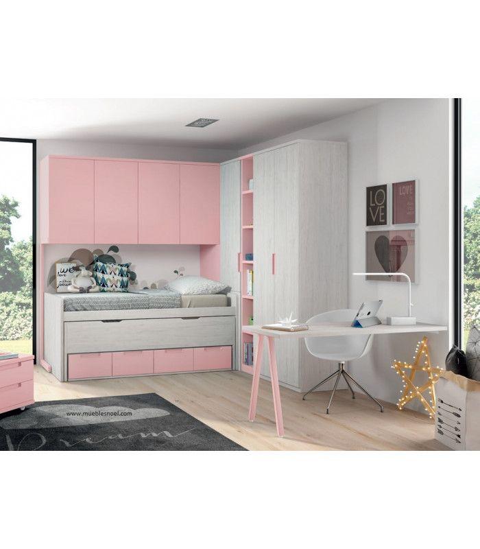 Dormitorio juvenil puente rosa.