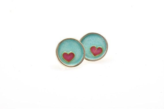 Sterling Silver Earrings, Stud Earrings, Turquoise Enamel Earrings, Post Earrings, Red Heart, Cloisonné Technique, Giampouras Collections €98.00 #silver #earrings #turquoise #heart #valentinegift