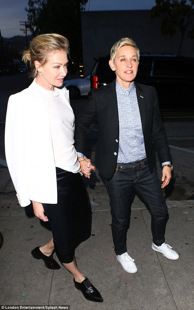 Too cute: Ellen DeGeneres (right) and Portia de Rossi (left) looked cute as they arrived for date night at Craig's Restaurant in Hollywood wearing similar blazers
