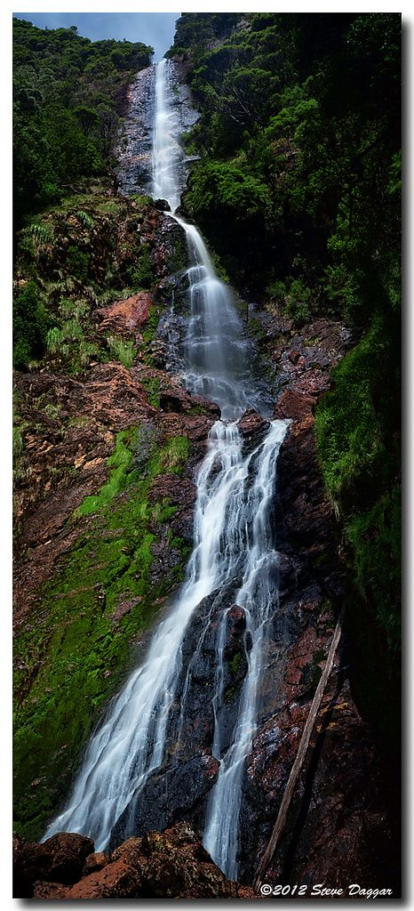 Montezuma Falls, Tasmania. A lovely 10km 3hr walk near Roseberry, Tasmania. We carried lunch with us & ate at the base of the falls. Not a bad spot for a picnic 3 shot vertical panno