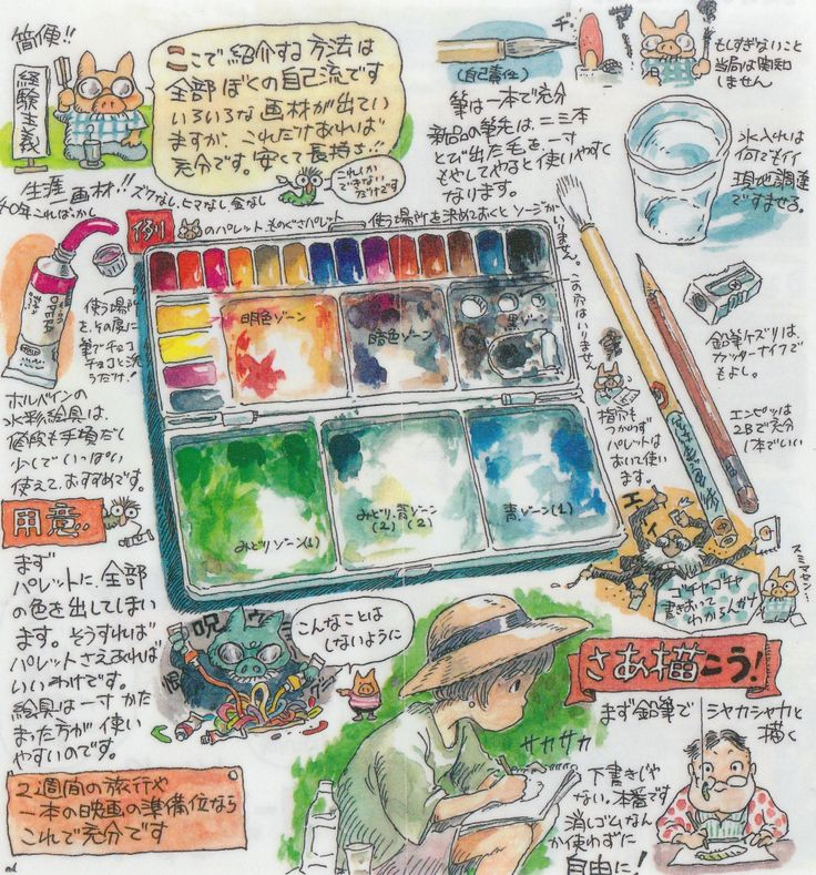 deschain: Hayao Miyazaki's advice on how to use transparent watercolors in the booklet of the Ghibli Museum Sketching Set. Title: My recomm...