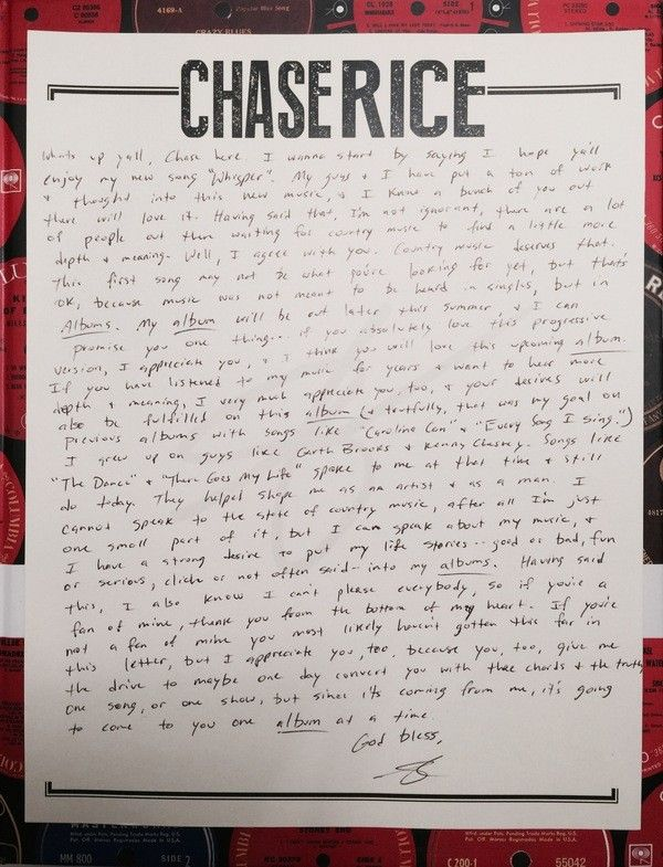 Chase Rice Letter