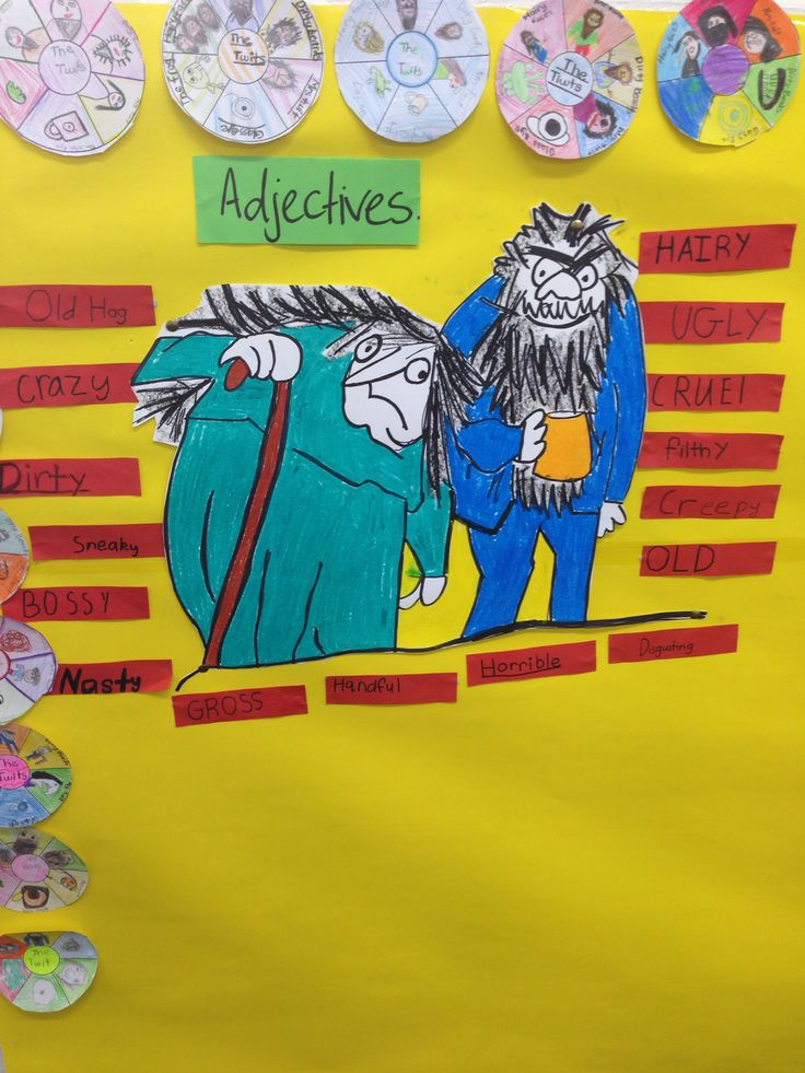 Mr and Mrs Twit adjective activity and story wheels. Completed by year 3 students.